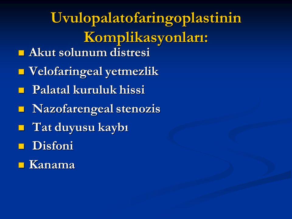 Uvulopalatofaringoplastinin Komplikasyonları: Akut solunum distresi Akut solunum distresi Velofaringeal yetmezlik Velofaringeal yetmezlik Palatal kuru