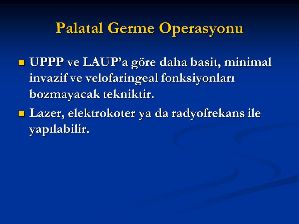 Palatal Germe Operasyonu UPPP ve LAUP'a göre daha basit, minimal invazif ve velofaringeal fonksiyonları bozmayacak tekniktir. UPPP ve LAUP'a göre daha