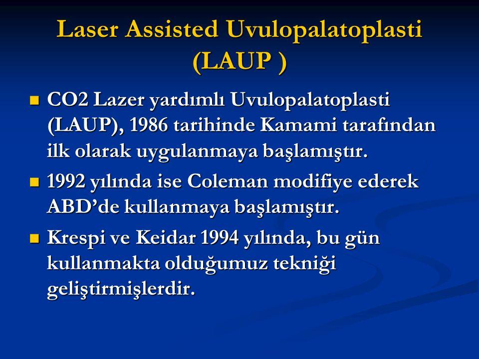 Laser Assisted Uvulopalatoplasti (LAUP ) CO2 Lazer yardımlı Uvulopalatoplasti (LAUP), 1986 tarihinde Kamami tarafından ilk olarak uygulanmaya başlamış