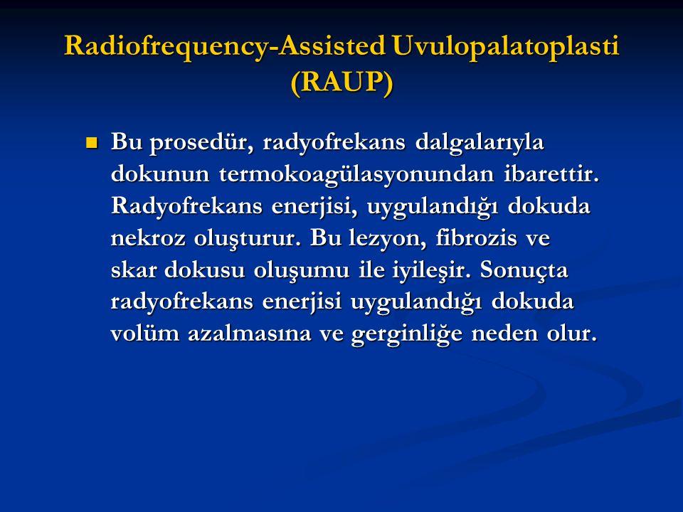 Radiofrequency-Assisted Uvulopalatoplasti (RAUP) Bu prosedür, radyofrekans dalgalarıyla dokunun termokoagülasyonundan ibarettir. Radyofrekans enerjisi