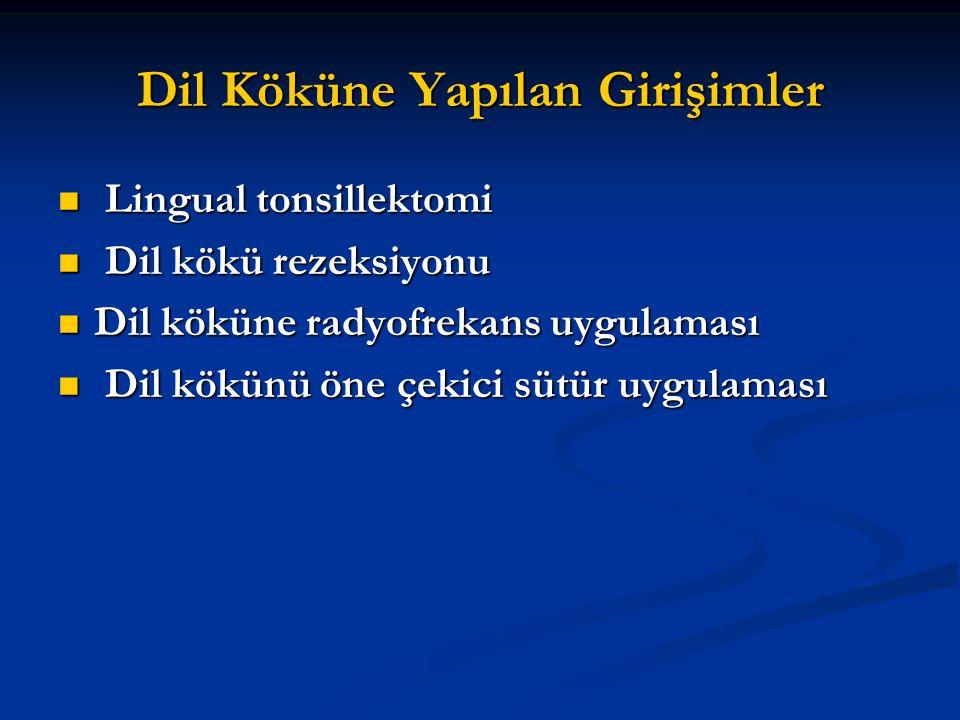 Dil Köküne Yapılan Girişimler Lingual tonsillektomi Lingual tonsillektomi Dil kökü rezeksiyonu Dil kökü rezeksiyonu Dil köküne radyofrekans uygulaması