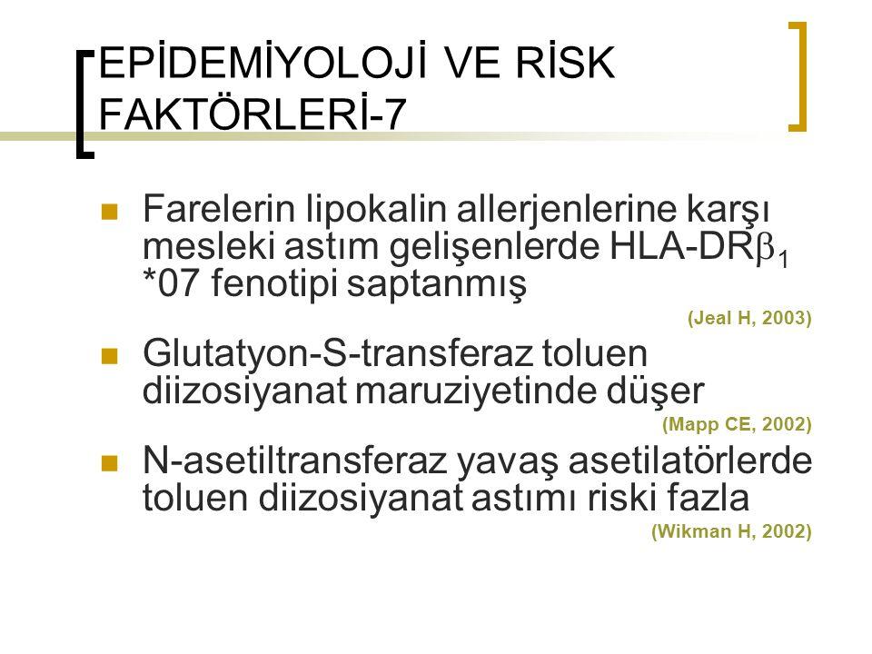 EPİDEMİYOLOJİ VE RİSK FAKTÖRLERİ-7 Farelerin lipokalin allerjenlerine karşı mesleki astım gelişenlerde HLA-DR  1 *07 fenotipi saptanmış (Jeal H, 2003