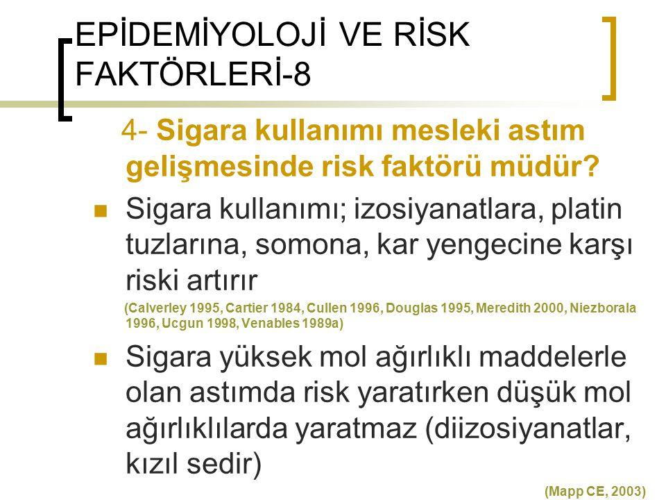EPİDEMİYOLOJİ VE RİSK FAKTÖRLERİ-8 4- Sigara kullanımı mesleki astım gelişmesinde risk faktörü müdür? Sigara kullanımı; izosiyanatlara, platin tuzları