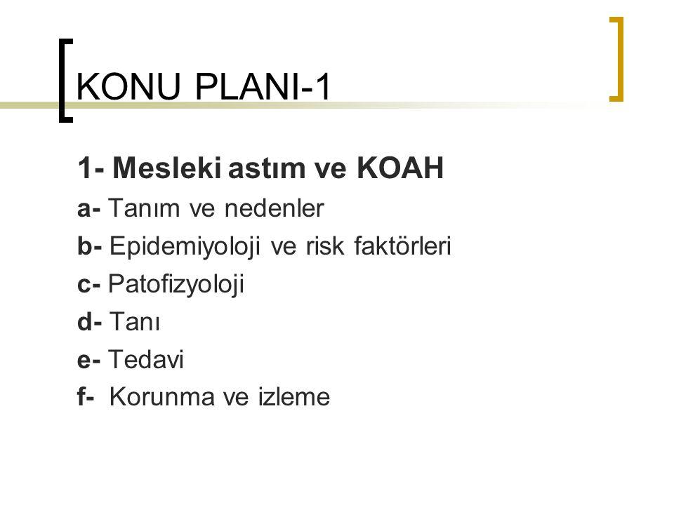 TANIM-NEDENLER-4 KOAH ile mesleki maruziyet bağlantısı longitudinal çalışmalarda gösterilmiş: Kömür işçileri (Love RG, 1982) (Seixas NS, 1993) Sert kaya madencileri (Hnizdo E, 1990) (Holman CDJ, 1987) Tünel çalışanları (Ulvestad B, 2001) Tuğla imalatçıları (Meijer E, 2001) Bu çalışmalarda yaş ve sigara faktörleri ayıklandıktan sonra mesleki yıllık FEV1 kaybı 7-8 ml