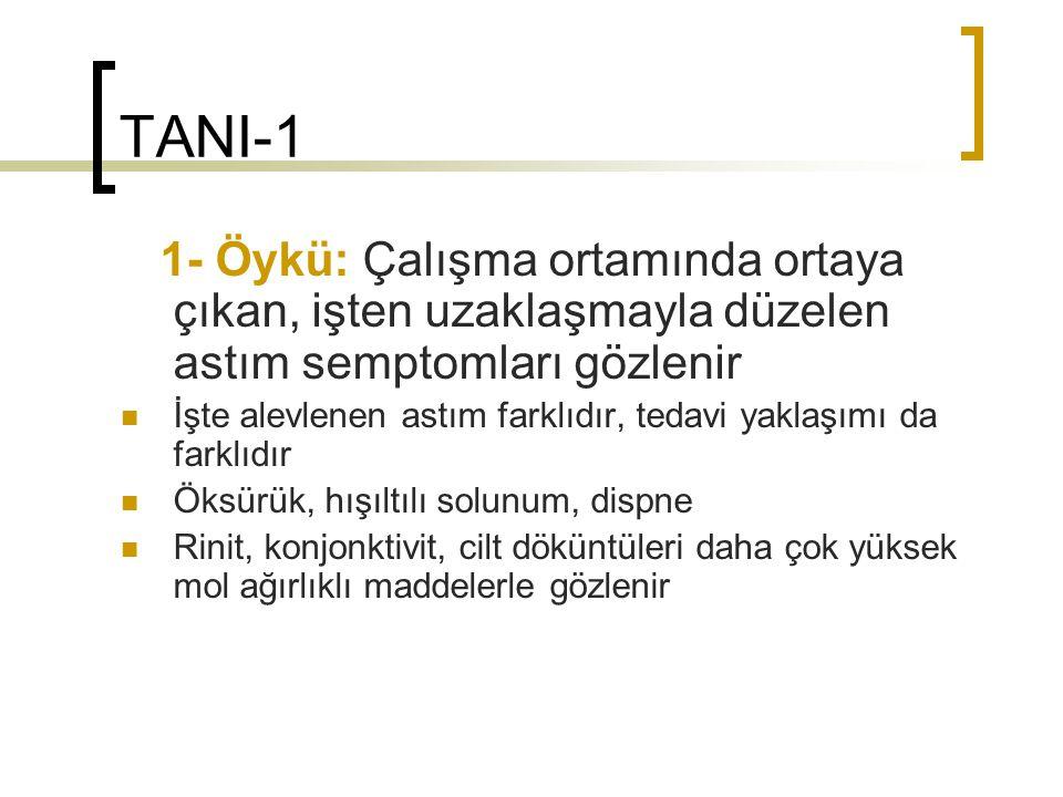 TANI-1 1- Öykü: Çalışma ortamında ortaya çıkan, işten uzaklaşmayla düzelen astım semptomları gözlenir İşte alevlenen astım farklıdır, tedavi yaklaşımı
