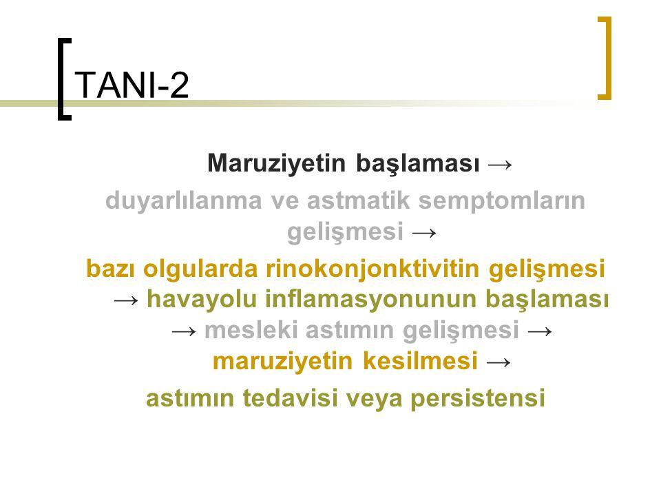 TANI-2 Maruziyetin başlaması → duyarlılanma ve astmatik semptomların gelişmesi → bazı olgularda rinokonjonktivitin gelişmesi → havayolu inflamasyonunu