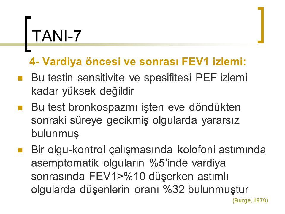 TANI-7 4- Vardiya öncesi ve sonrası FEV1 izlemi: Bu testin sensitivite ve spesifitesi PEF izlemi kadar yüksek değildir Bu test bronkospazmı işten eve