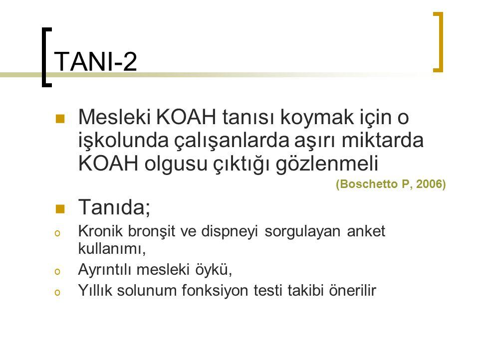 TANI-2 Mesleki KOAH tanısı koymak için o işkolunda çalışanlarda aşırı miktarda KOAH olgusu çıktığı gözlenmeli (Boschetto P, 2006) Tanıda; o Kronik bro