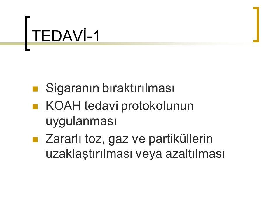 TEDAVİ-1 Sigaranın bıraktırılması KOAH tedavi protokolunun uygulanması Zararlı toz, gaz ve partiküllerin uzaklaştırılması veya azaltılması