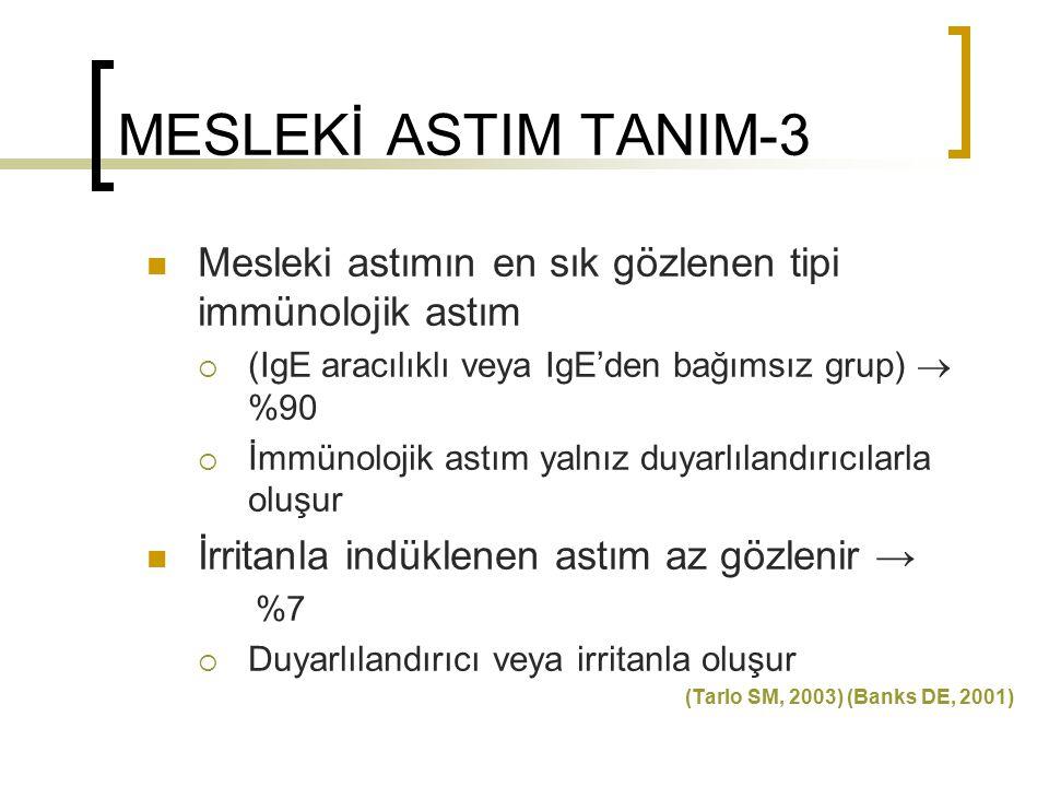 MESLEKİ ASTIM TANIM-4 Bu temel gruplar dışında; İşle alevlenen astım; Önceden varolan veya eşlik eden astımın işyeri maruziyetiyle alevlenmesidir, Mesleki astımdan farkı önlem alınarak aynı işte çalışabilme olanağıdır (Tarlo SM, 2000) (Saarinen, 2003) Eozinofilik bronşit Astım benzeri hastalık