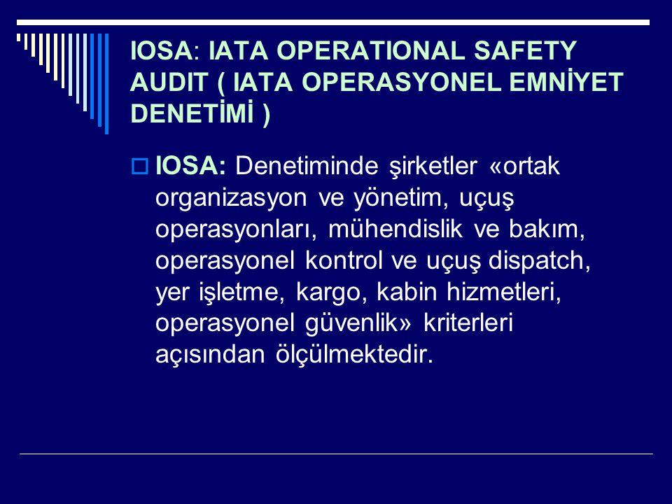 IOSA: IATA OPERATIONAL SAFETY AUDIT ( IATA OPERASYONEL EMNİYET DENETİMİ )  IOSA: Denetiminde şirketler «ortak organizasyon ve yönetim, uçuş operasyon