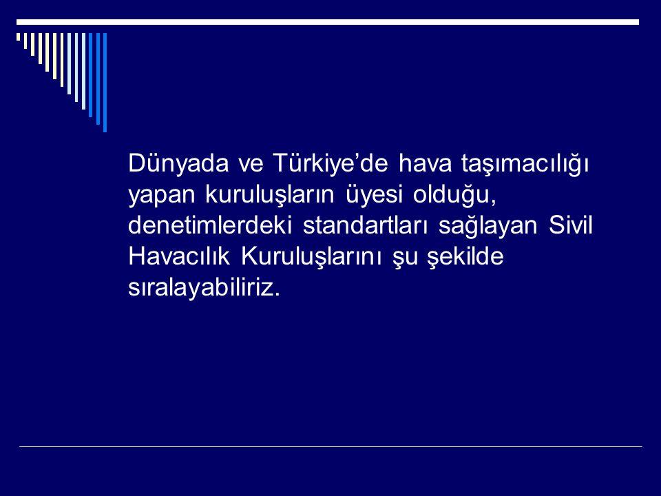 Dünyada ve Türkiye'de hava taşımacılığı yapan kuruluşların üyesi olduğu, denetimlerdeki standartları sağlayan Sivil Havacılık Kuruluşlarını şu şekilde