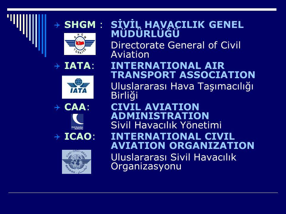  SHGM : SİVİL HAVACILIK GENEL MÜDÜRLÜĞÜ Directorate General of Civil Aviation  IATA: INTERNATIONAL AIR TRANSPORT ASSOCIATION Uluslararası Hava Taşım