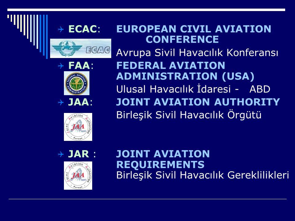  ECAC: EUROPEAN CIVIL AVIATION CONFERENCE Avrupa Sivil Havacılık Konferansı  FAA: FEDERAL AVIATION ADMINISTRATION (USA) Ulusal Havacılık İdaresi - A