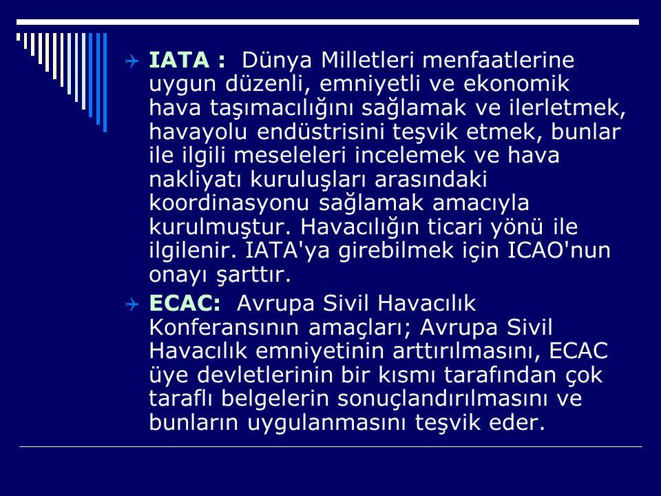  IATA : Dünya Milletleri menfaatlerine uygun düzenli, emniyetli ve ekonomik hava taşımacılığını sağlamak ve ilerletmek, havayolu endüstrisini teşvik