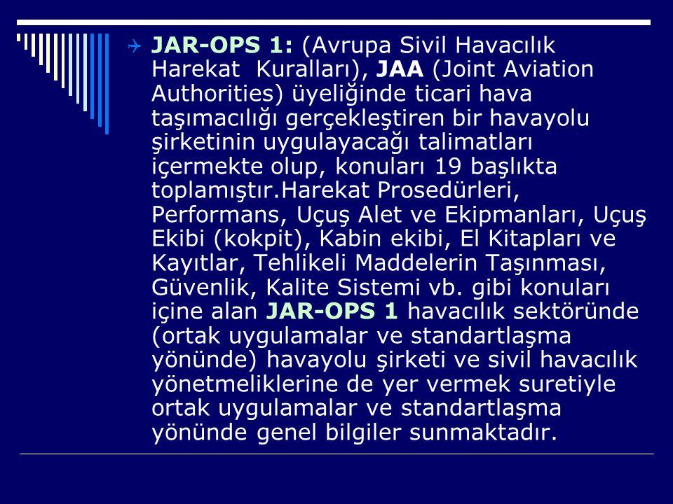  JAR-OPS 1: (Avrupa Sivil Havacılık Harekat Kuralları), JAA (Joint Aviation Authorities) üyeliğinde ticari hava taşımacılığı gerçekleştiren bir havay