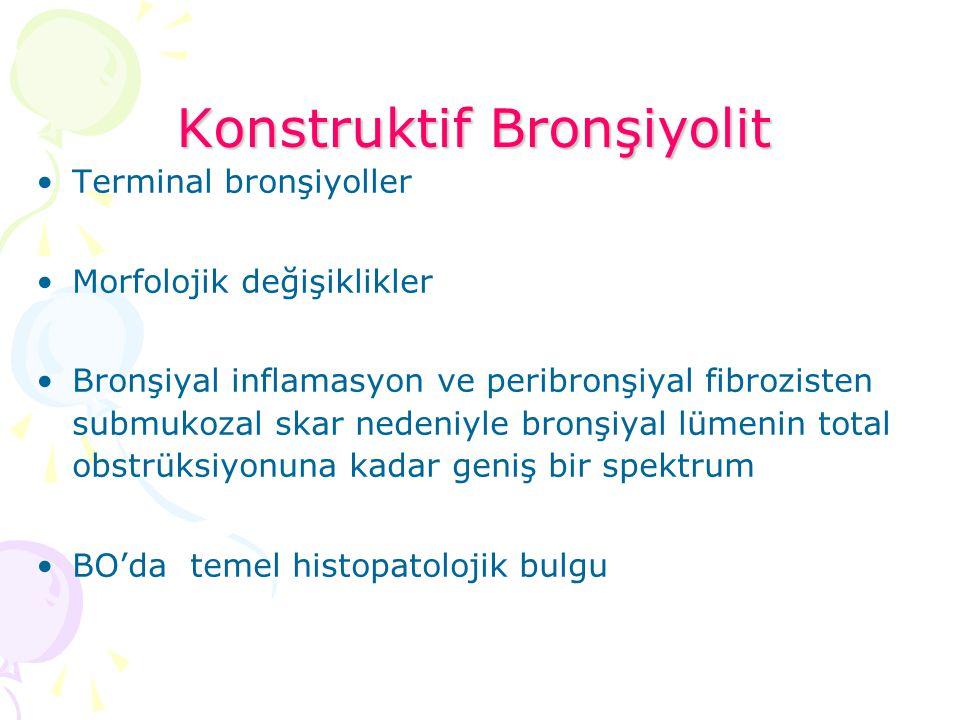 Konstruktif Bronşiyolit Terminal bronşiyoller Morfolojik değişiklikler Bronşiyal inflamasyon ve peribronşiyal fibrozisten submukozal skar nedeniyle br