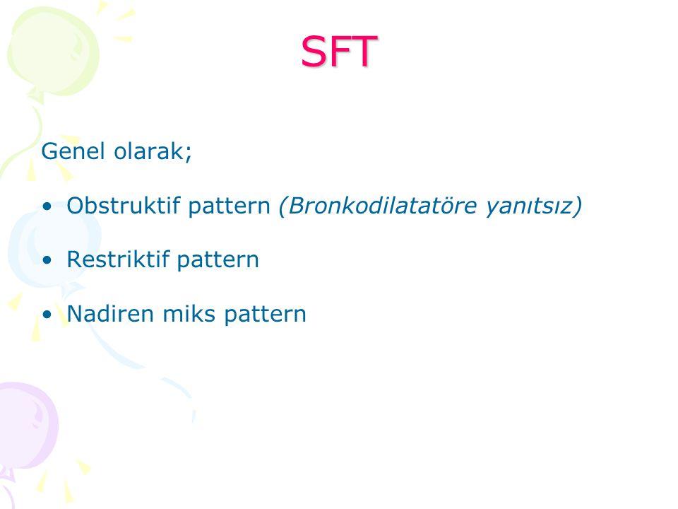 SFT Genel olarak; Obstruktif pattern (Bronkodilatatöre yanıtsız) Restriktif pattern Nadiren miks pattern