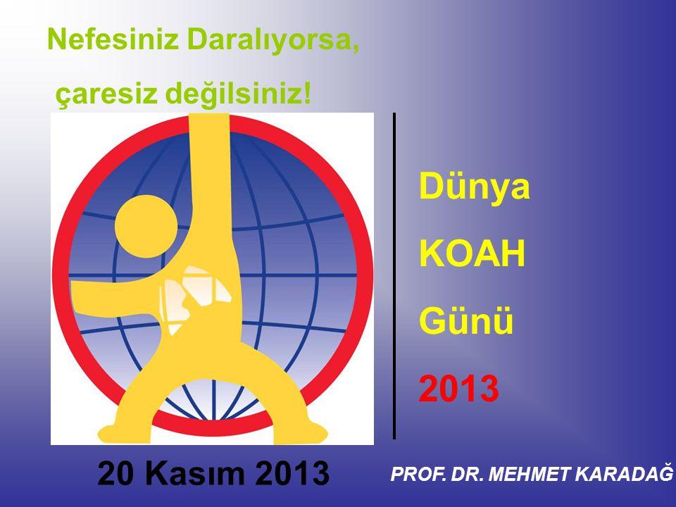 Nefesiniz Daralıyorsa, çaresiz değilsiniz! Dünya KOAH Günü 2013 20 Kasım 2013 PROF. DR. MEHMET KARADAĞ