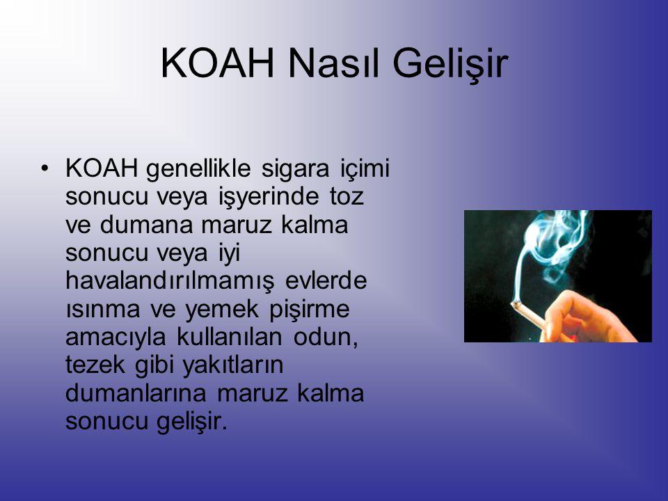 KOAH Nasıl Gelişir KOAH genellikle sigara içimi sonucu veya işyerinde toz ve dumana maruz kalma sonucu veya iyi havalandırılmamış evlerde ısınma ve ye