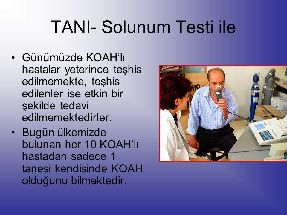 TANI- Solunum Testi ile Günümüzde KOAH'lı hastalar yeterince teşhis edilmemekte, teşhis edilenler ise etkin bir şekilde tedavi edilmemektedirler. Bugü