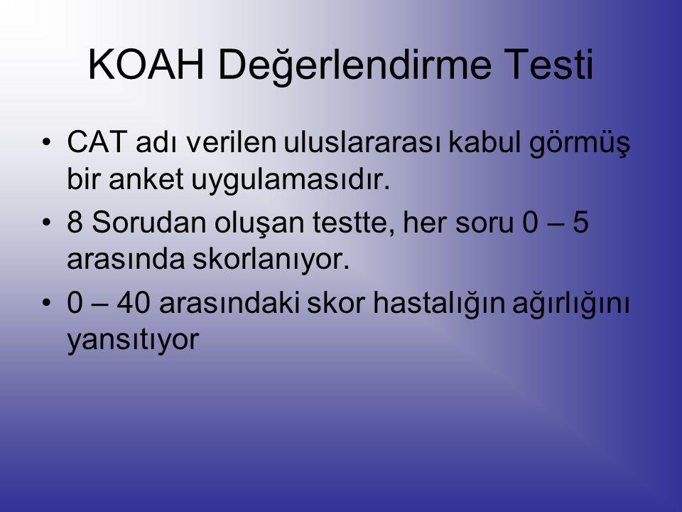 KOAH Değerlendirme Testi CAT adı verilen uluslararası kabul görmüş bir anket uygulamasıdır. 8 Sorudan oluşan testte, her soru 0 – 5 arasında skorlanıy