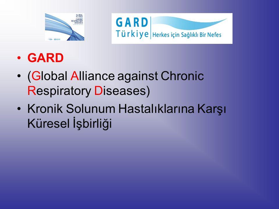 GARD: Ulusal ve uluslararası kuruluşların gönüllü olarak birleşip herkesin özgürce nefes aldığı bir dünya vizyonu çerçevesinde çalıştığı, Dünya Sağlık Örgütü (DSÖ) bünyesinde kurulmuş bir birliktir.