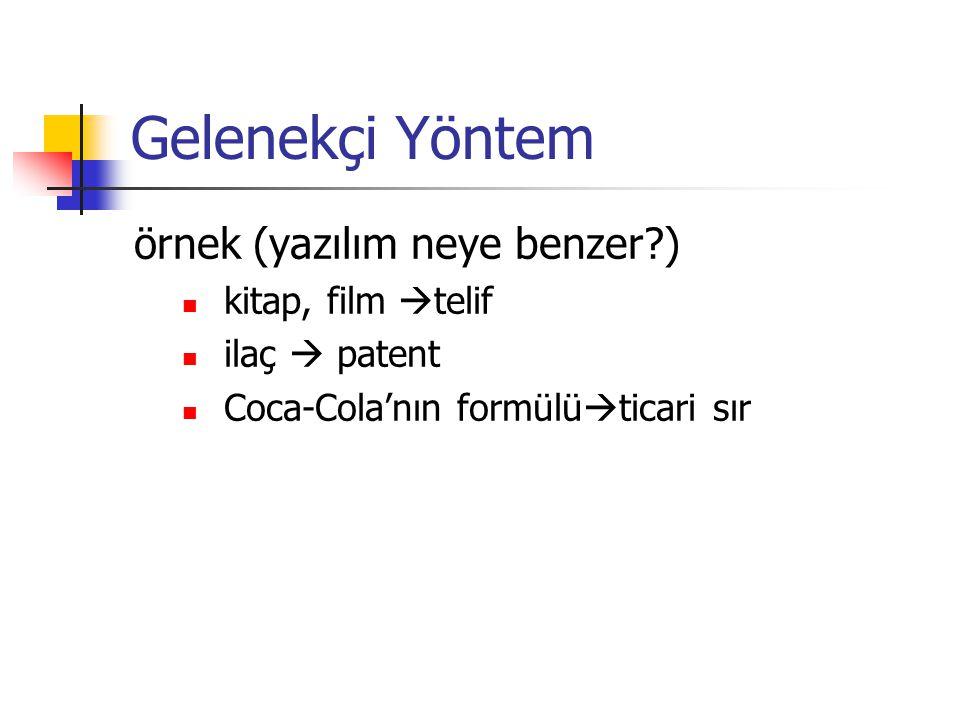 Gelenekçi Yöntem örnek (yazılım neye benzer?) kitap, film  telif ilaç  patent Coca-Cola'nın formülü  ticari sır