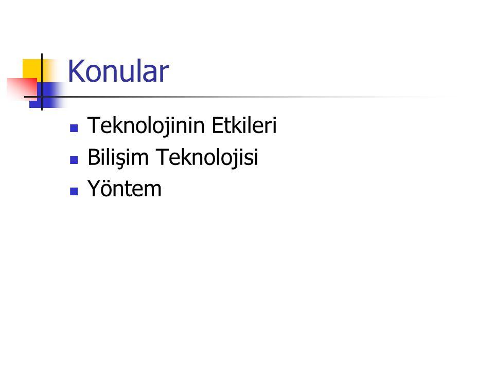 Konular Teknolojinin Etkileri Bilişim Teknolojisi Yöntem