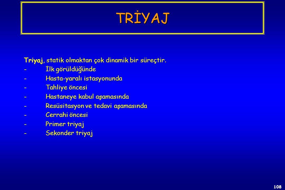 107 TRİYAJ Tıbbi Destek Hiyerarşisi  1. Triyaj (DO THE MOST FOR THE MOST)  2. Tedavi  3. Transport