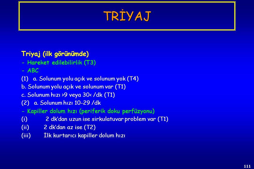 110 Triyaj; - Fizyolojik triyaj (ilk aşamada) - Anatomik triyaj (drawbacks) a. Yaralının elbiseleri çıkarılmalı, zaman alıcı ve pratik değil, b.Tıbbi