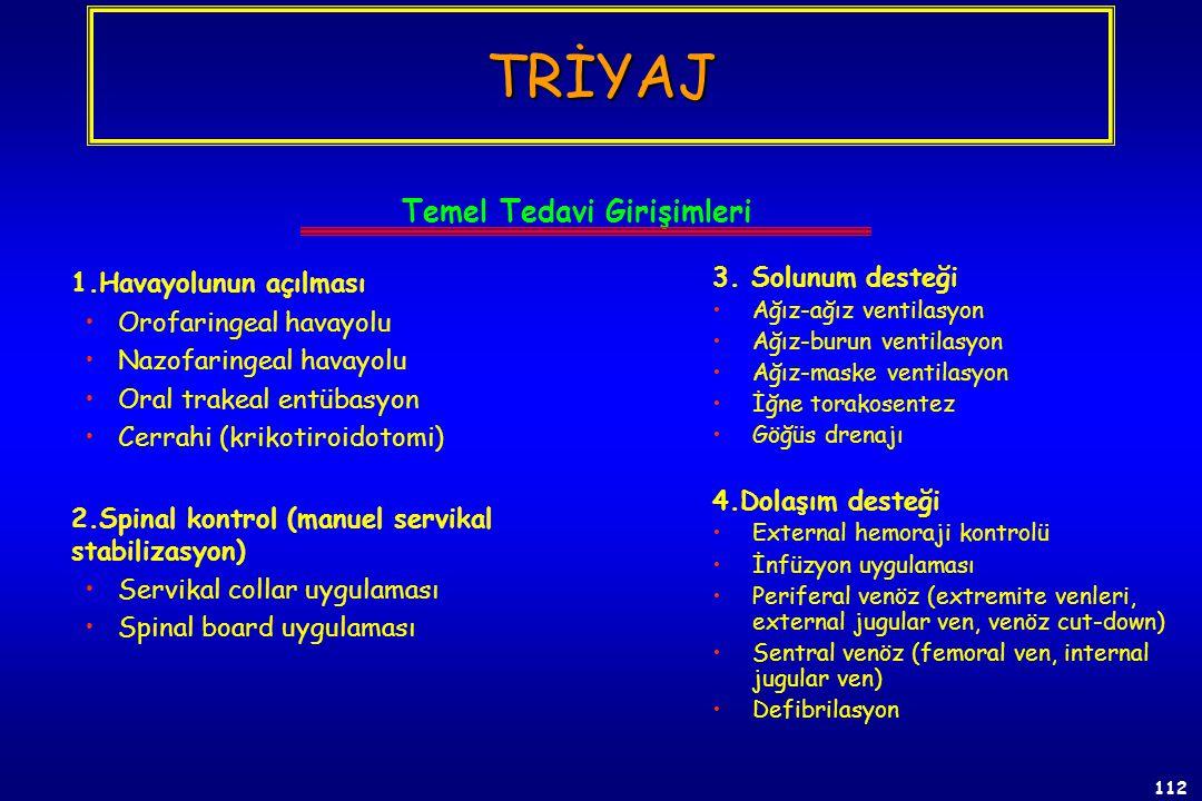 111 Triyaj (ilk görünümde) - Hareket edilebilirlik (T3) - ABC (1) a. Solunum yolu açık ve solunum yok (T4) b. Solunum yolu açık ve solunum var (T1) c.