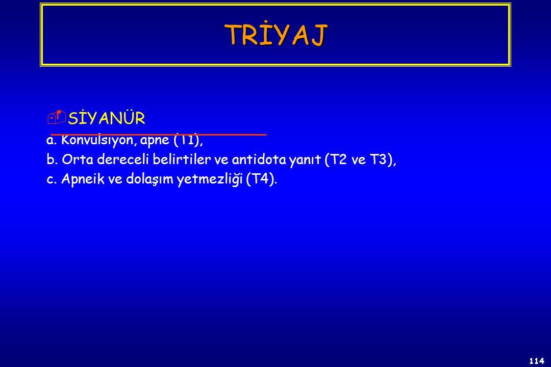 113  BOĞUCU GAZLAR (Triyaj) a. Pulmoner ödem (T1) (Pulmoner Yoğun Bakım), b. Dispneik (T2) (Gözlem ve tekrar triyaj), c. Asemptomatik (T3) (Her 2 saa