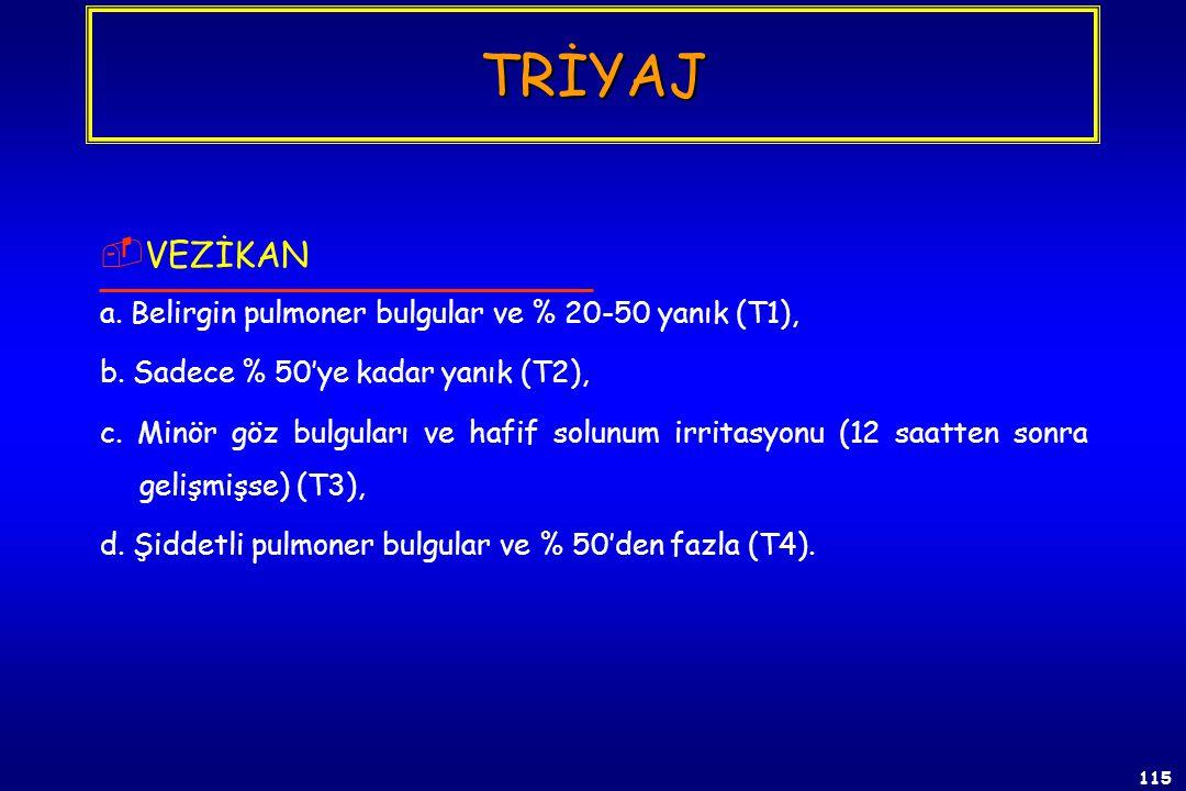 114  SİYANÜR a. Konvülsiyon, apne (T1), b. Orta dereceli belirtiler ve antidota yanıt (T2 ve T3), c. Apneik ve dolaşım yetmezliği (T4). TRİYAJ