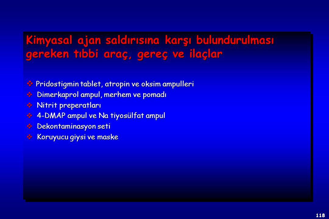 117  KAPASİTE BOZUCU AJANLAR a. Kardiorespiratuar yetmezlik ve hipertemi (T1) b. Belirgin antikolinerjik bulgular (T2) c. Hafif derecede nörolojik şi