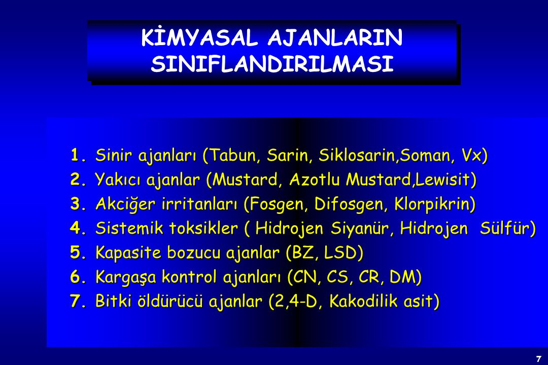 7 KİMYASAL AJANLARIN SINIFLANDIRILMASI 1.Sinir ajanları (Tabun, Sarin, Siklosarin,Soman, Vx) 2.
