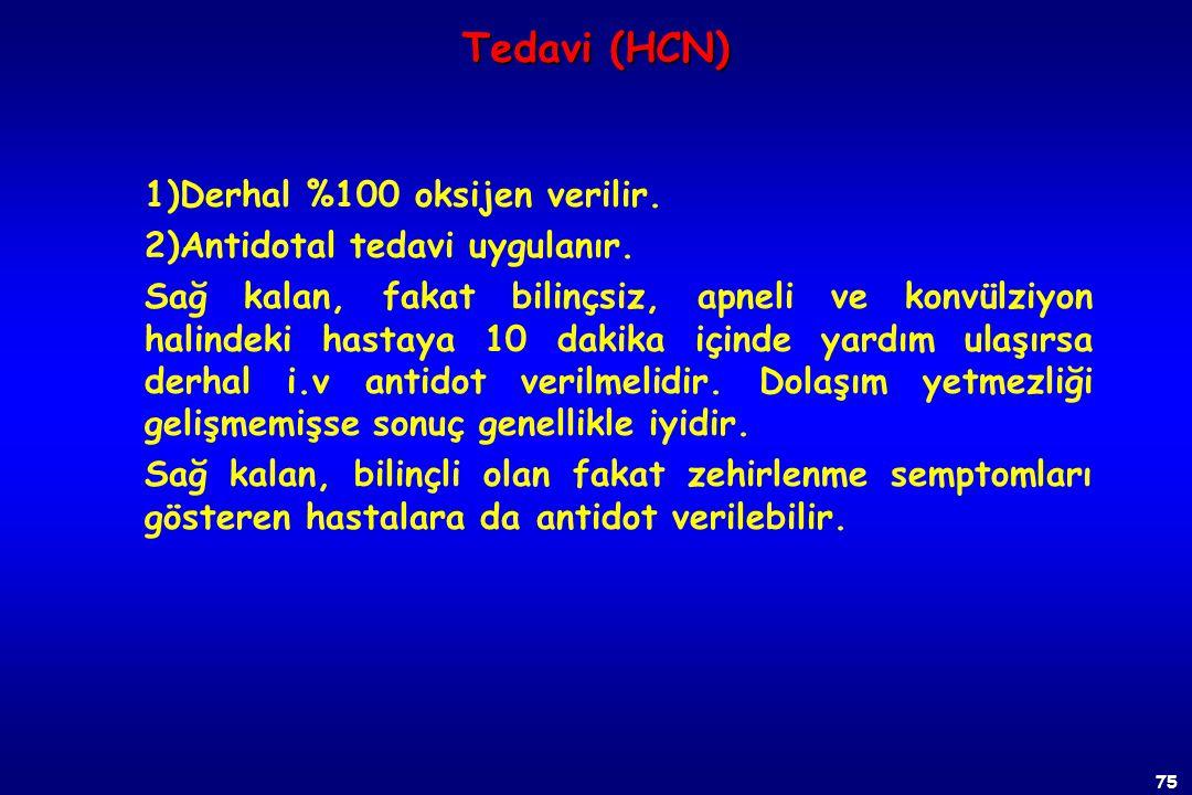 74 Tedavi (HCN) vAkut zehirlenmelerde amil nitrit + Nanitrit + Na tiyosülfat v 4-Dimetilaminofenol hidroklorid (4-DMAP) v %100 oksijen verilir. v Gaz