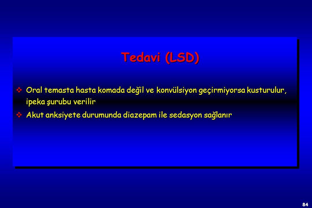 83 Belirtiler (LSD) vSomatik: Uyku hali, bulantı, kusma, diyare, fotofobi, midriyasis, lakrimasyon, taşikardi, anoreksi, hipertermi, terleme, terleme,