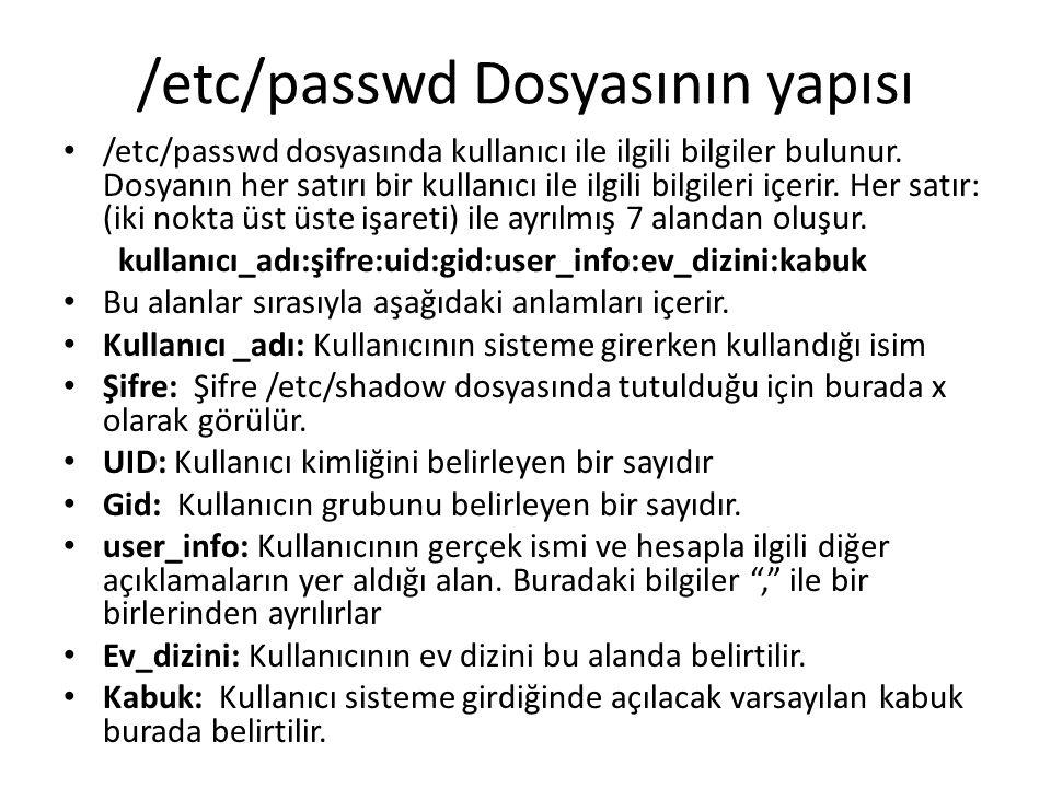 /etc/passwd Dosyasının yapısı /etc/passwd dosyasında kullanıcı ile ilgili bilgiler bulunur.
