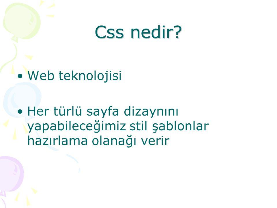 Css nedir? Web teknolojisi Her türlü sayfa dizaynını yapabileceğimiz stil şablonlar hazırlama olanağı verir