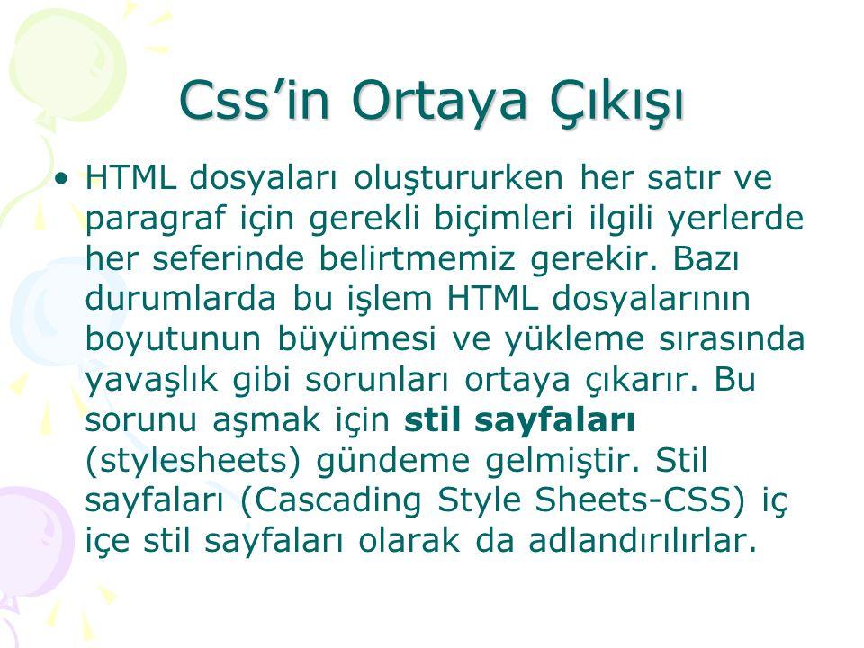 Css'in Ortaya Çıkışı HTML dosyaları oluştururken her satır ve paragraf için gerekli biçimleri ilgili yerlerde her seferinde belirtmemiz gerekir. Bazı