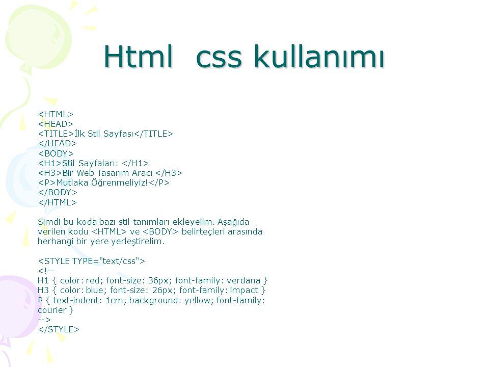 Html css kullanımı İlk Stil Sayfası Stil Sayfaları: Bir Web Tasarım Aracı Mutlaka Öğrenmeliyiz! Şimdi bu koda bazı stil tanımları ekleyelim. Aşağıda v