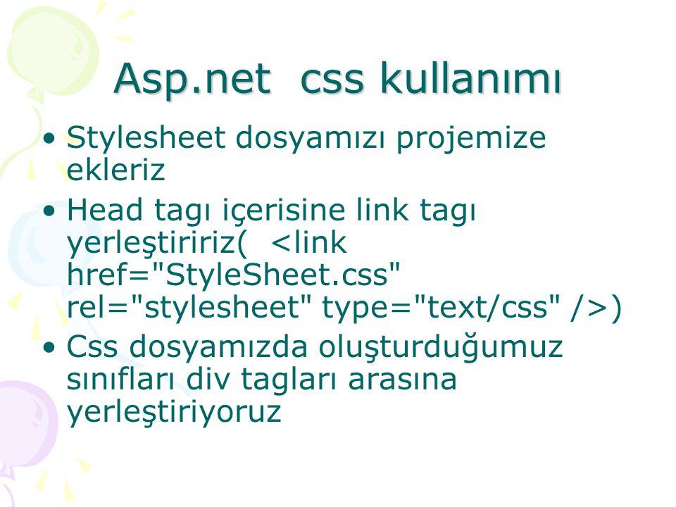 Asp.net css kullanımı Stylesheet dosyamızı projemize ekleriz Head tagı içerisine link tagı yerleştiririz( ) Css dosyamızda oluşturduğumuz sınıfları di