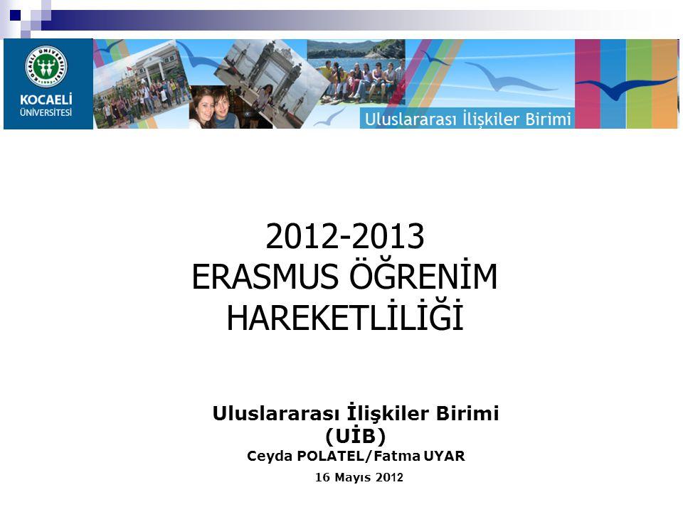Uluslararası İlişkiler Birimi (UİB) Ceyda POLATEL/Fatma UYAR 16 Mayıs 20 12 2012-2013 ERASMUS ÖĞRENİM HAREKETLİLİĞİ