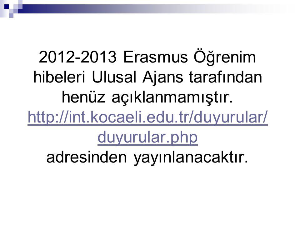 2012-2013 Erasmus Öğrenim hibeleri Ulusal Ajans tarafından henüz açıklanmamıştır. http://int.kocaeli.edu.tr/duyurular/ duyurular.php adresinden yayınl