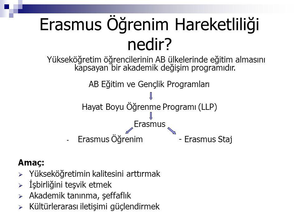 Erasmus Öğrenim Hareketliliği nedir? Yükseköğretim öğrencilerinin AB ülkelerinde eğitim almasını kapsayan bir akademik değişim programıdır. AB Eğitim