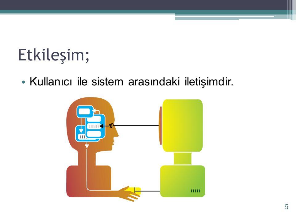 Etkileşim; Kullanıcı ile sistem arasındaki iletişimdir. 5