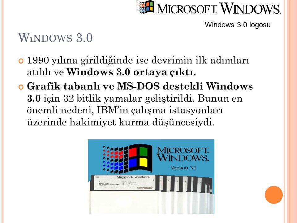 W ıNDOWS 3.0 1990 yılına girildiğinde ise devrimin ilk adımları atıldı ve Windows 3.0 ortaya çıktı. Grafik tabanlı ve MS-DOS destekli Windows 3.0 için
