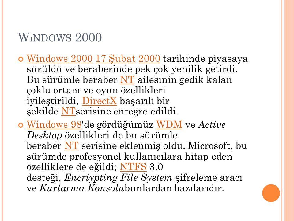 W ıNDOWS 2000 Windows 2000Windows 2000 17 Şubat 2000 tarihinde piyasaya sürüldü ve beraberinde pek çok yenilik getirdi. Bu sürümle beraber NT ailesini