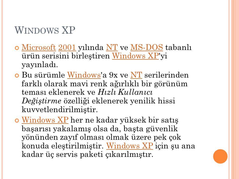 W INDOWS XP MicrosoftMicrosoft 2001 yılında NT ve MS-DOS tabanlı ürün serisini birleştiren Windows XP'yi yayınladı.2001NTMS-DOSWindows XP Bu sürümle W